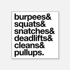 "Crossfit Essentials Black T Square Sticker 3"" x 3"""