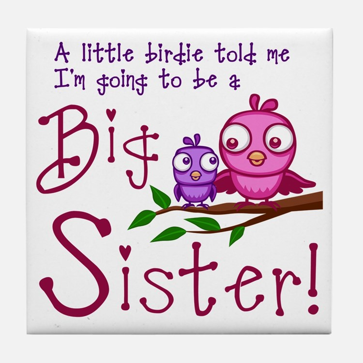 Birdie Big Sister Tile Coaster
