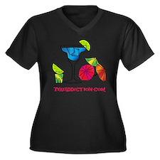 HAPPY HOUR - Women's Plus Size Dark V-Neck T-Shirt