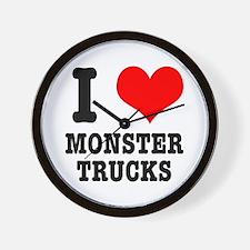 I Heart (Love) Monster Trucks Wall Clock
