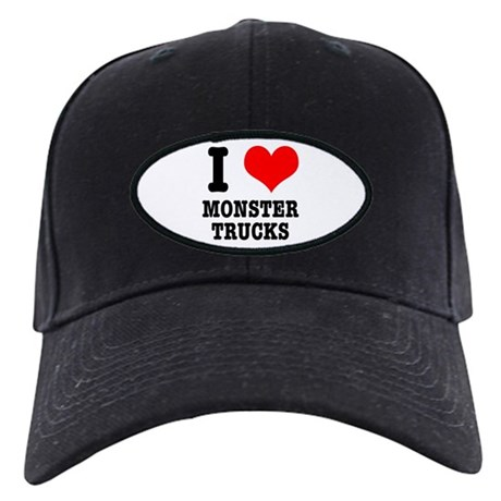I Heart (Love) Monster Trucks Black Cap