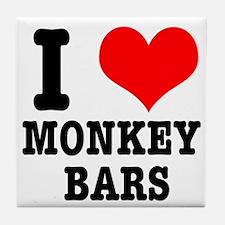 I Heart (Love) Monkey Bars Tile Coaster