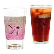 Pink Crane Drinking Glass