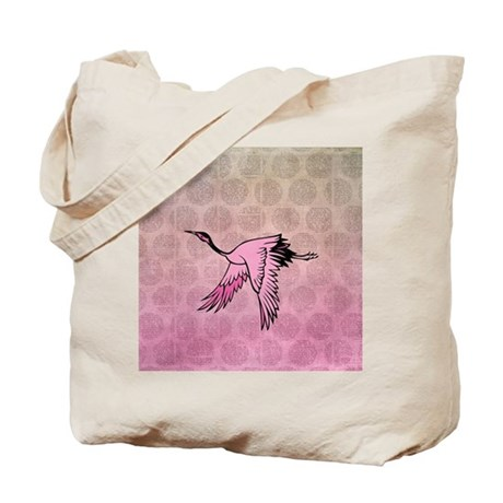 Pink Crane Tote Bag