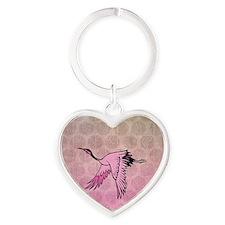 Pink Crane Heart Keychain