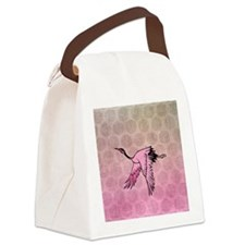 Pink Crane Canvas Lunch Bag