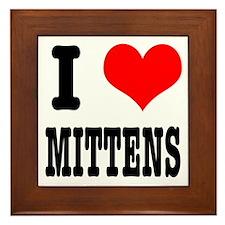 I Heart (Love) Mittens Framed Tile