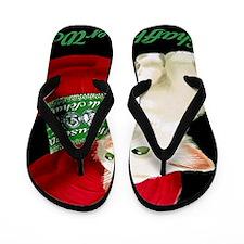 Vintage White Cat Red Yarn Flip Flops