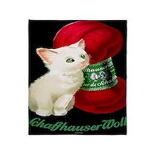 Vintage White Cat Red Yarn Throw Blanket