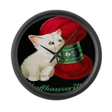 Vintage White Cat Red Yarn Large Wall Clock