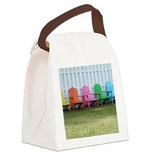 Rainbow of adirondack chairs Canvas Lunch Bag