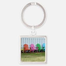 Rainbow of adirondack chairs Square Keychain