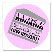 """Running I Love Dessert Square Car Magnet 3"""" x 3"""""""