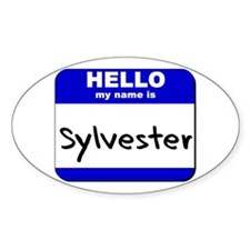 hello my name is sylvester Oval Decal
