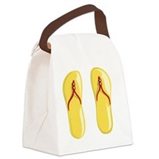 sandals red strap yellow beaded Canvas Lunch Bag