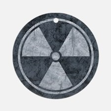 Distressed Gray Radiation Symbol Round Ornament