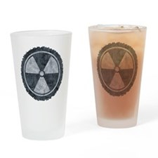 Distressed Gray Radiation Symbol Drinking Glass