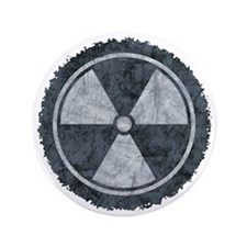 "Distressed Gray Radiation Symbol 3.5"" Button"