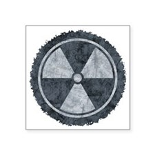 "Distressed Gray Radiation S Square Sticker 3"" x 3"""