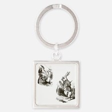 Late Rabbit Square Keychain
