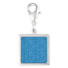 Aqua Glitter Silver Square Charm