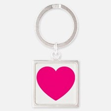 Hot Pink Heart Square Keychain