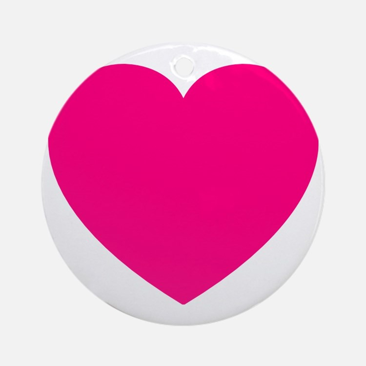 Hot Pink Heart Round Ornament