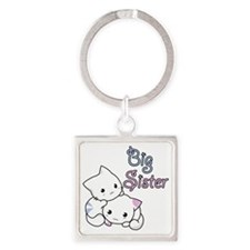 Cute Kitty Big Sister Square Keychain