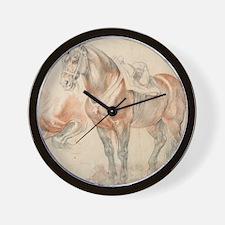 Vintage Drawing of Saddled Horse Wall Clock