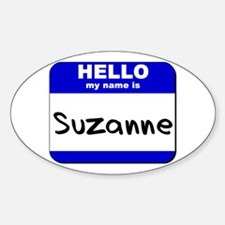 hello my name is suzanne Oval Decal