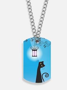 Whimsical Black Cat Dog Tags