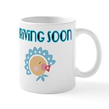 Arriving Soon. Baby in Blue Mug