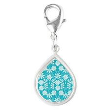 Aqua Flowers Silver Teardrop Charm