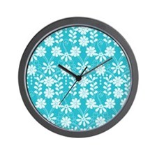 Aqua Flowers Wall Clock