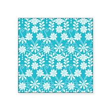"""Aqua Flowers Square Sticker 3"""" x 3"""""""