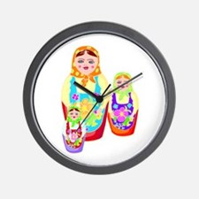 Russian Matryoshka Nesting Dolls Wall Clock