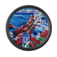 Greek Oil Painting Large Wall Clock