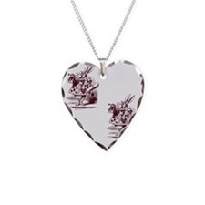White Rabbit Necklace Heart Charm