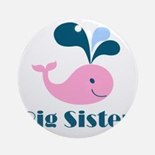 Cute Whale Big Sister Round Ornament