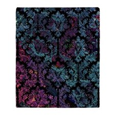 Damask on purple and blue Throw Blanket