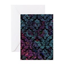 Damask on purple and blue Greeting Card