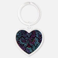 Damask pattern on purple and blue Heart Keychain
