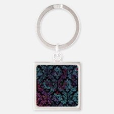 Damask pattern on purple and blue Square Keychain