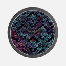 Damask pattern on purple and blue Wall Clock
