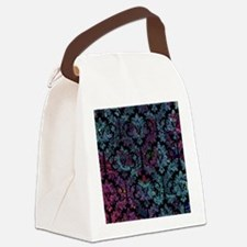 Damask pattern on purple and blue Canvas Lunch Bag