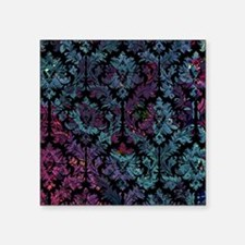 "Damask pattern on purple an Square Sticker 3"" x 3"""