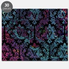 Damask pattern on purple and blue Puzzle