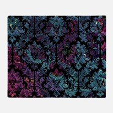 Damask pattern on purple and blue Throw Blanket
