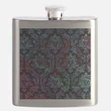 Damask pattern on purple and blue Flask