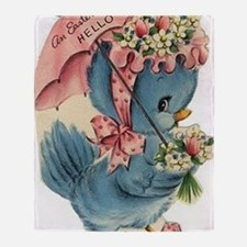 Vintage Easter Blue Bird Bonnet Throw Blanket